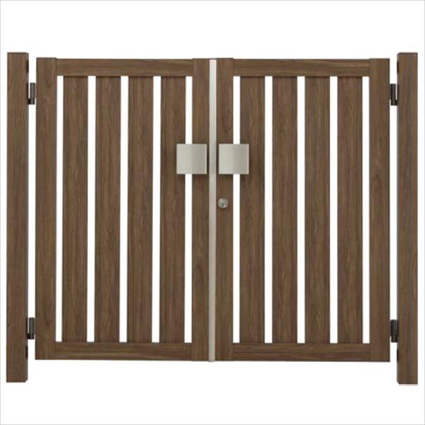 タカショー エバーアートウッド門扉 こだわり板 縦型 柱仕様 W700×H1400 両開き プッシュプル錠