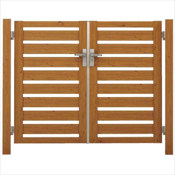 タカショー エバーアートウッド門扉 こだわり板 横型 柱仕様 W800×H1400 両開き レバーハンドル錠