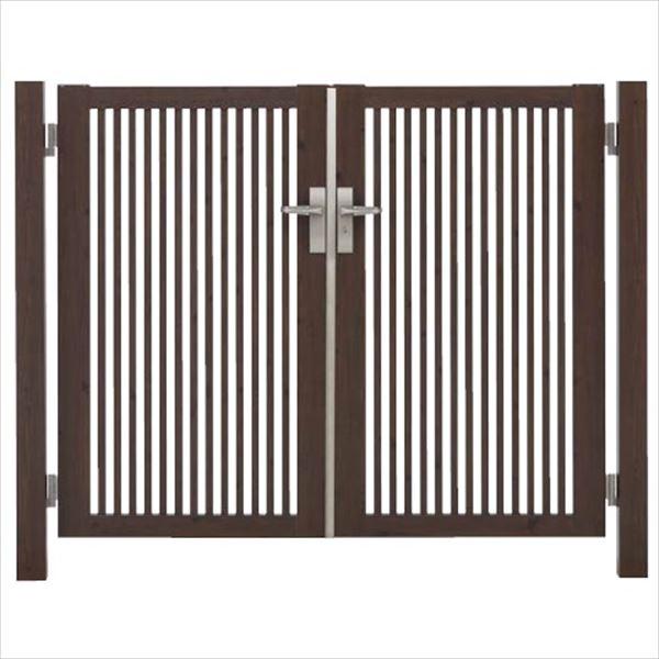 タカショー エバーアートウッド門扉 20角 細格子 縦型 柱仕様 W700×H1400 両開き レバーハンドル錠
