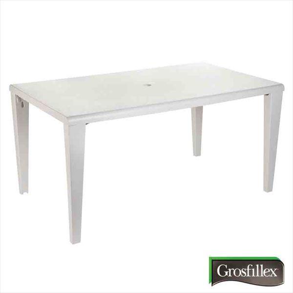送料無料【タカショー】フランスの洗練されたデザインテーブル タカショー グロスフィレックス アルファテーブル GRS-T10W #32863500 『ガーデンテーブル』 ホワイト