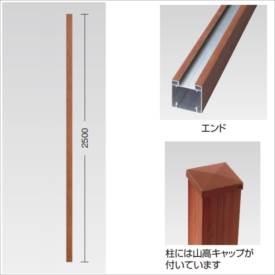 タカショー e-プライバシー オプション H1860用柱 エンド 山高キャップ付 『木調フェンス 柵』