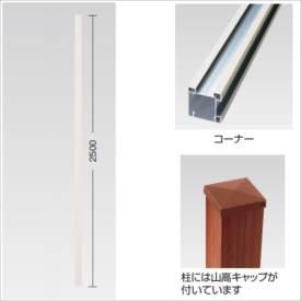 タカショー e-プライバシー オプション H1860用柱 コーナー 山高キャップ付 『木調フェンス 柵』