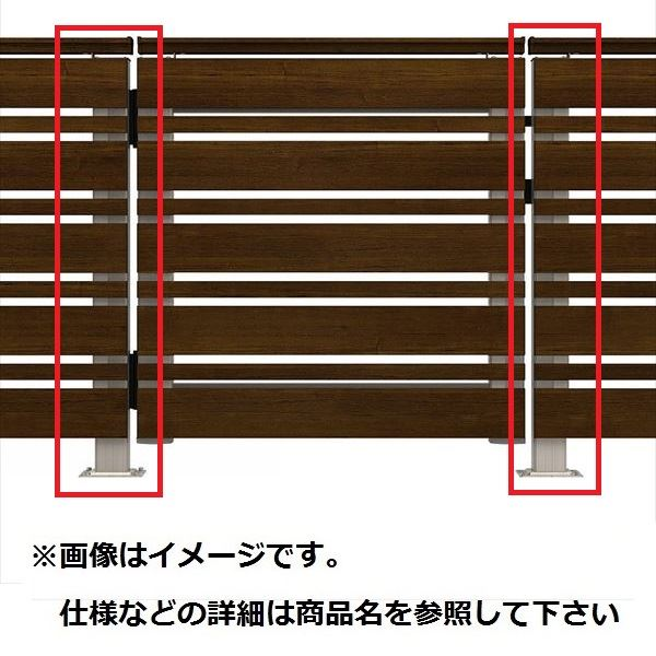 YKKAP ルシアスデッキ門扉A02型 デッキ門扉用柱(2本で1組) ベースプレート施工(控え金具付き) (受用)端柱+(吊元用)中柱 T80 『ウッドデッキ 人工木 門扉』