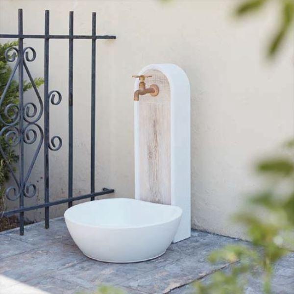 トーシン 水栓柱 アン ジーニー SC-UN-GEN-WH 立水栓+水栓パン(受け)+蛇口セット ホワイト