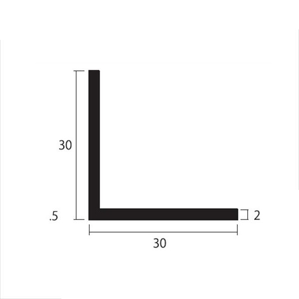 安田株式会社 一般形材 アルミ等辺アングル 定尺 L=4,000 2×30×30(mm) 『外構DIY部品』