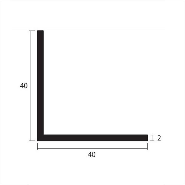 安田株式会社 一般形材 アルミ等辺アングル 定尺 L=4,000 2×40×40(mm) 『外構DIY部品』