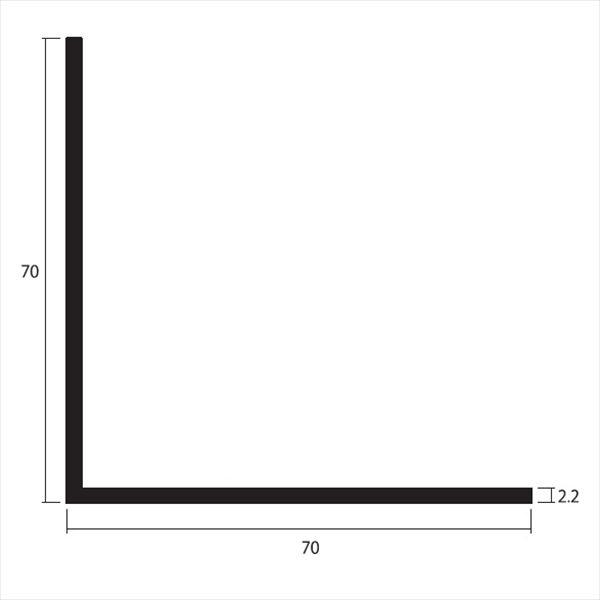 安田株式会社 一般形材 アルミ等辺アングル 定尺 L=4,000 2.2×70×70(mm) 『外構DIY部品』 シルバー