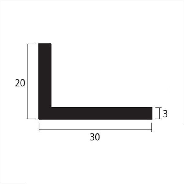 安田株式会社 一般形材 アルミ不等辺アングル 定尺 L=4,000 3×30×20(mm) 『外構DIY部品』 シルバー