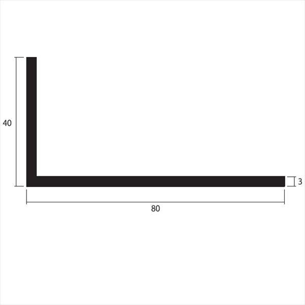 安田株式会社 一般形材 アルミ不等辺アングル 定尺 L=4,000 3×80×40(mm) 『外構DIY部品』 シルバー