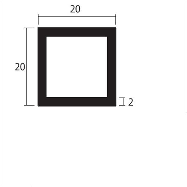 安田株式会社 一般形材 アルミ等辺角パイプ 定尺 L=4,000 2.0×20×20(mm) 『外構DIY部品』