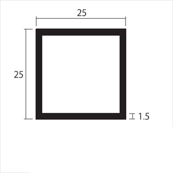 安田株式会社 一般形材 アルミ等辺角パイプ 定尺 L=4,000 1.5×25×25(mm) 『外構DIY部品』 シルバー