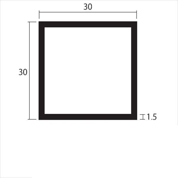 安田株式会社 一般形材 アルミ等辺角パイプ 定尺 L=4,000 1.5×30×30(mm) 『外構DIY部品』