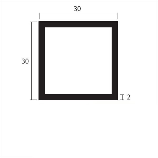安田株式会社 一般形材 アルミ等辺角パイプ 定尺 L=4,000 2.0×30×30(mm) 『外構DIY部品』