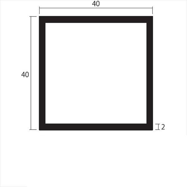 安田株式会社 一般形材 アルミ等辺角パイプ 定尺 L=4,000 2.0×40×40(mm) 『外構DIY部品』