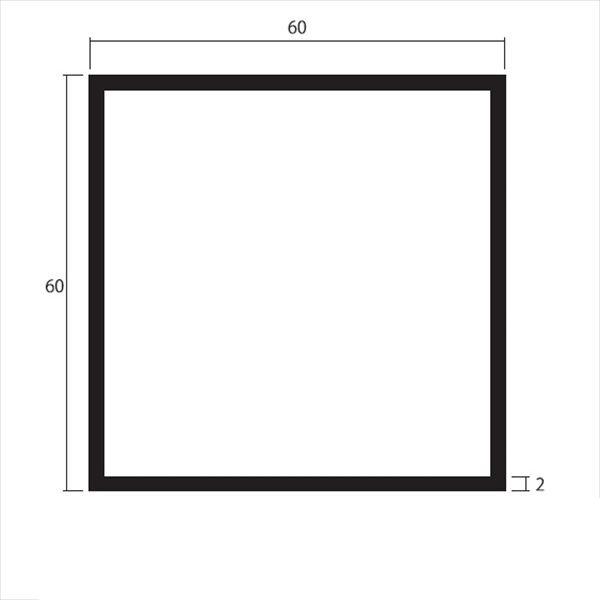 安田株式会社 一般形材 アルミ等辺角パイプ 定尺 L=4,000 2.0×60×60(mm) 『外構DIY部品』 シルバー