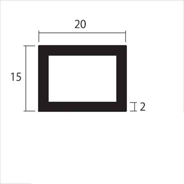 安田株式会社 一般形材 アルミ不等辺角パイプ 定尺 L=4,000 2.0×20×15(mm) 『外構DIY部品』 シルバー