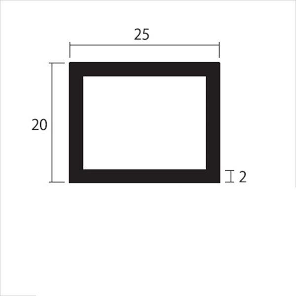 安田株式会社 一般形材 アルミ不等辺角パイプ 定尺 L=4,000 2.0×25×20(mm) 『外構DIY部品』