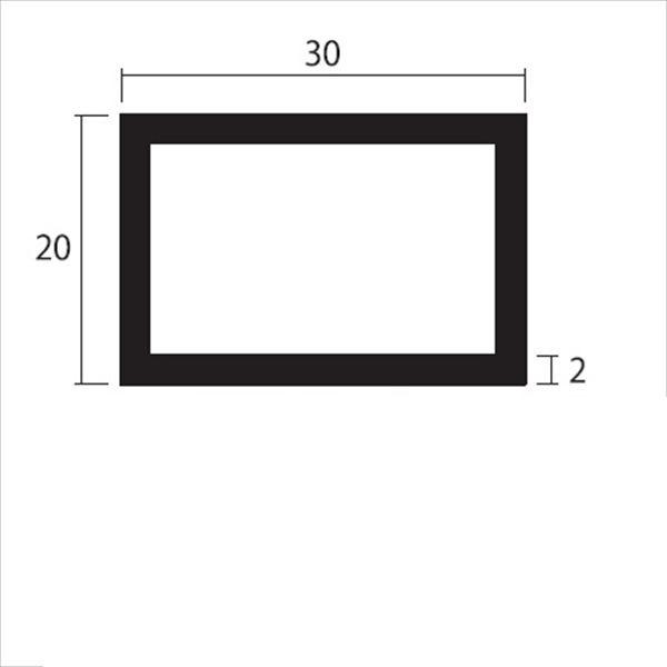 安田株式会社 一般形材 アルミ不等辺角パイプ 定尺 L=4,000 2.0×30×20(mm) 『外構DIY部品』