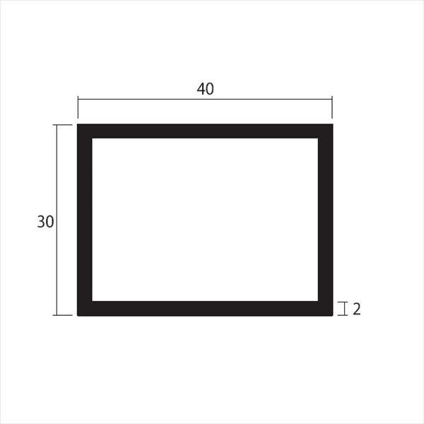 安田株式会社 一般形材 アルミ不等辺角パイプ 定尺 L=4,000 2.0×40×30(mm) 『外構DIY部品』