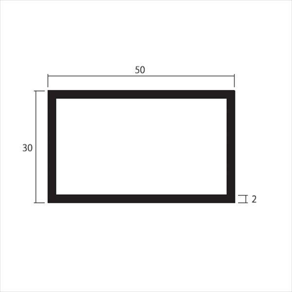 安田株式会社 一般形材 アルミ不等辺角パイプ 定尺 L=4,000 2.0×50×30(mm) 『外構DIY部品』 シルバー