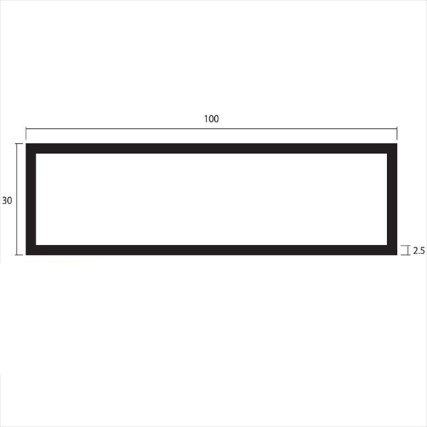 安田株式会社 一般形材 アルミ不等辺角パイプ 定尺 L=4,000 2.5×100×30(mm) 『外構DIY部品』 シルバー