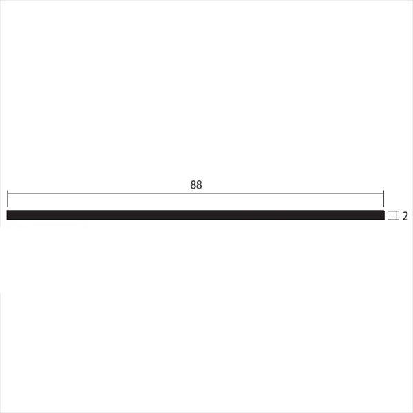 安田株式会社 一般形材 アルミフラットバー 定尺 L=4,000 2×88(mm) 『外構DIY部品』 シルバー