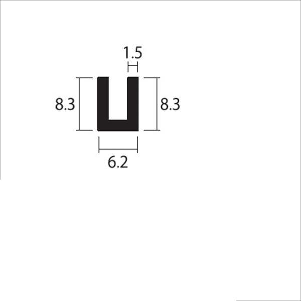 安田株式会社 一般形材 アルミチャンネル 定尺 L=4,000 1.5×6.2×8.3(mm) 『外構DIY部品』 シルバー