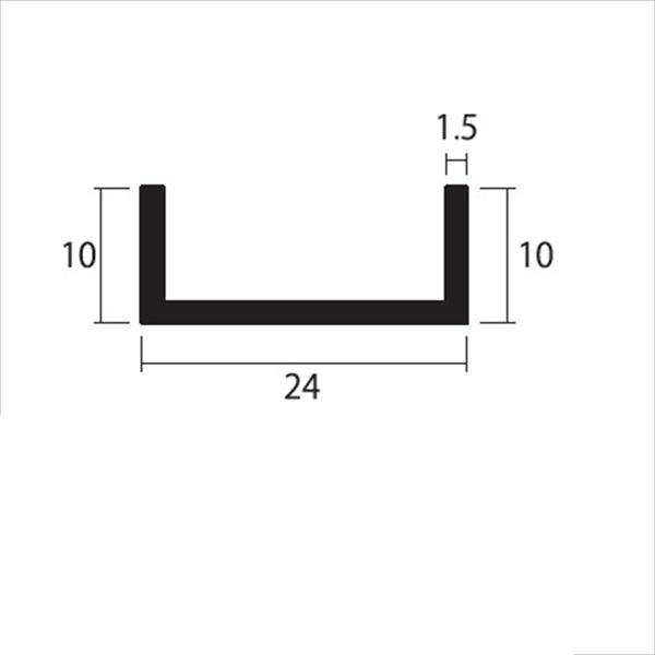 安田株式会社 一般形材 アルミチャンネル 定尺 L=4,000 1.5×24×10(mm) 『外構DIY部品』 シルバー