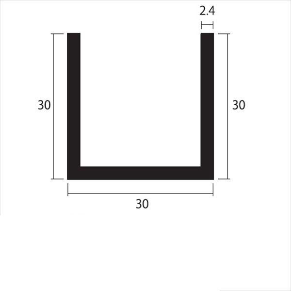 安田株式会社 一般形材 アルミチャンネル 定尺 L=4,000 2.4×30×30(mm) 『外構DIY部品』