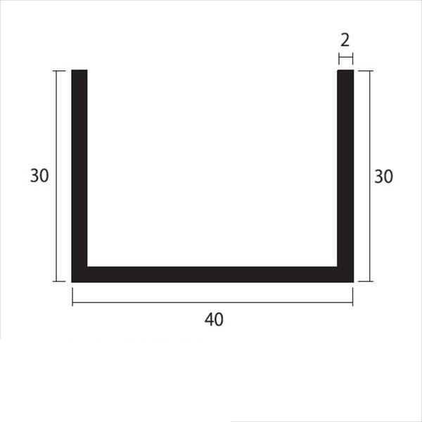 安田株式会社 一般形材 アルミチャンネル 定尺 L=4,000 2.0×40×30(mm) 『外構DIY部品』 シルバー