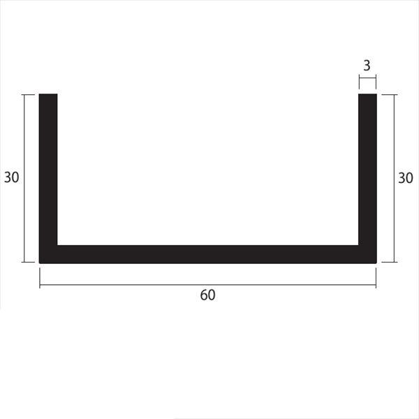 安田株式会社 一般形材 アルミチャンネル 定尺 L=4,000 3.0×60×30(mm) 『外構DIY部品』 シルバー