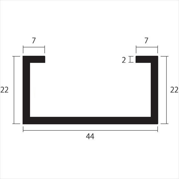 安田株式会社 一般形材 アルミC型チャンネル 定尺 L=4,000 2.0×44×22×7(mm) 『外構DIY部品』 シルバー