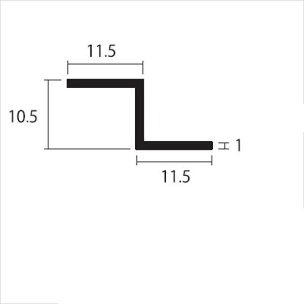 安田株式会社 一般形材 アルミZ型バー 定尺 L=4,000 1.0×10.5×11.5×11.5(mm) 『外構DIY部品』 シルバー