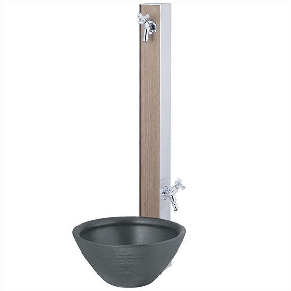 ユニソン 水凛 水リンスタンドLN 2口 組み合わせセット1 『立水栓セット 蛇口 水受け付き 3点セット』 桑(くわ)