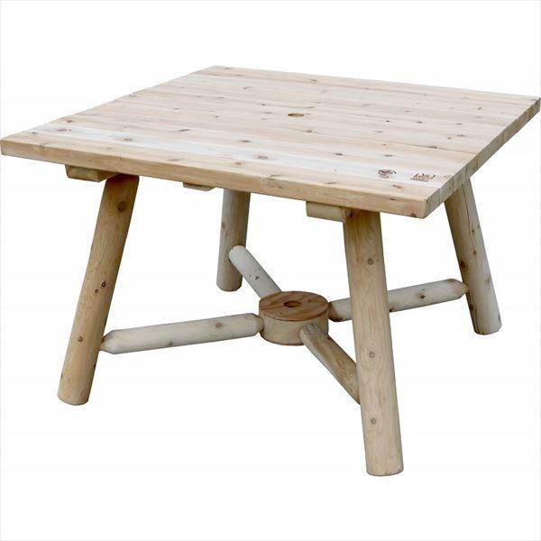 Sスタイル カナディアンログファニチャー シダールックス スクエアパラソルテーブル #NO130 『ガーデンテーブル ガーデンファニチャー』 無塗装