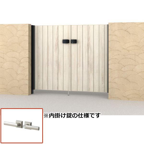 0712 内開き門柱タイプ TM型 三協アルミ 木調タイプ 腐らない木調アルミ形材門扉 両開きセット 柱:アルミ色 フレイナ