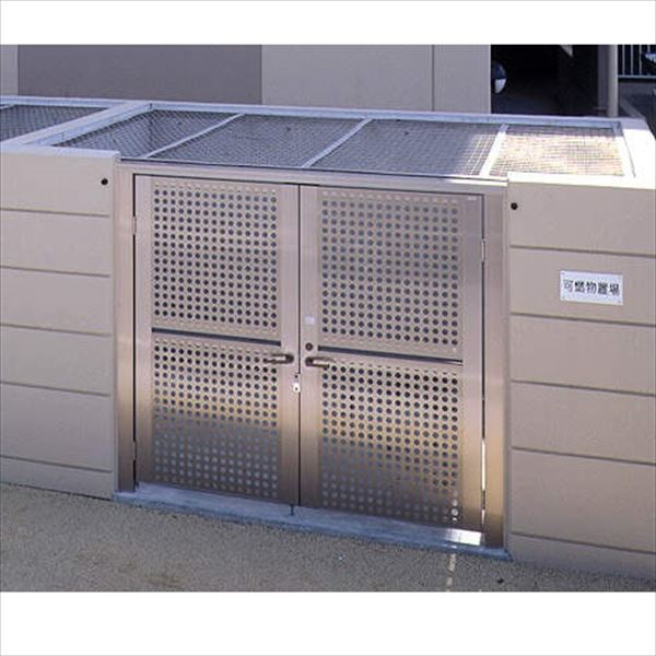 四国化成 ゴミストッカーUT1型 GSUT1-M3020SC メッシュ屋根タイプ 3020サイズ *扉、屋根のみの商品。壁は現場施工(コンクリートなど) 『ゴミ収集庫』『ダストボックス ゴミステーション 屋外』『ゴミ袋(45L)集積目安 217袋、世帯数目