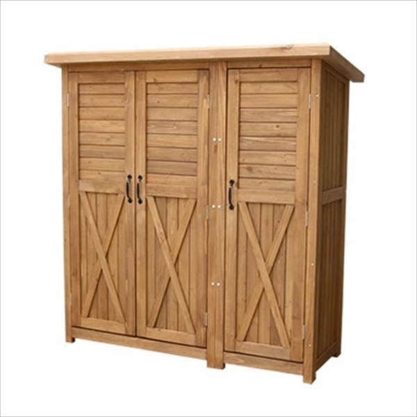【欠品中 次回10月下旬以降入荷予定】Sスタイル 木製収納庫 KTDS1600LBR 木製大型収納庫(三つ扉)   『中型・大型 物置小屋 屋外 DIY向け』 ライトブラウン
