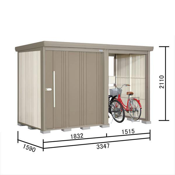 タクボ物置 TP/ストックマンプラスアルファ TP-3315 一般型 標準屋根 『追加金額で工事も可能』 『駐輪スペース付 屋外用 物置 自転車収納 におすすめ』 カーボンブラウン
