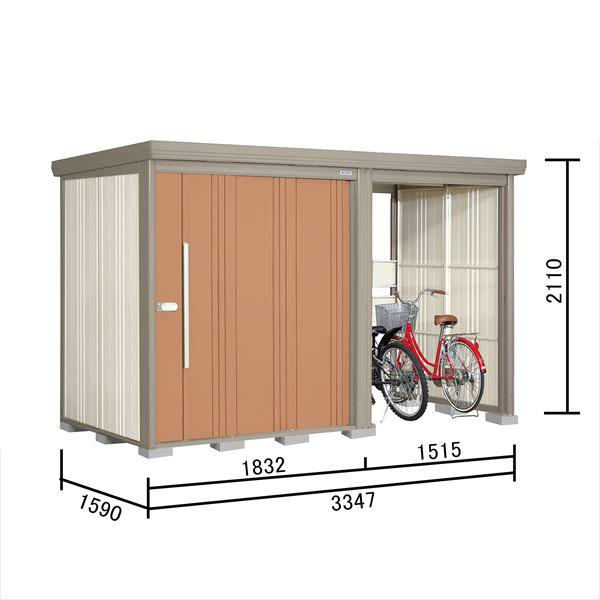 タクボ物置 TP/ストックマンプラスアルファ TP-3315 一般型 標準屋根 『追加金額で工事も可能』 『駐輪スペース付 屋外用 物置 自転車収納 におすすめ』 トロピカルオレンジ