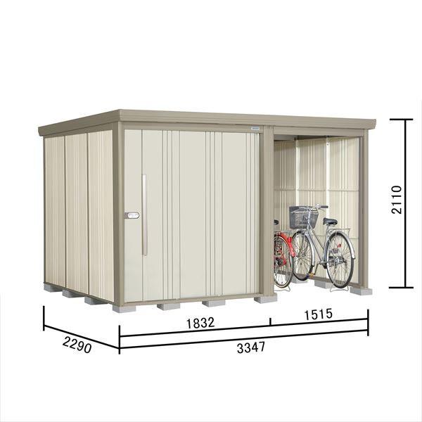 タクボ物置 TP/ストックマンプラスアルファ TP-S3322 多雪型 標準屋根 『追加金額で工事も可能』 『駐輪スペース付 屋外用 物置 自転車収納 におすすめ』 ムーンホワイト