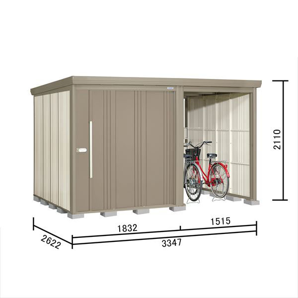 タクボ物置 TP/ストックマンプラスアルファ TP-3326 一般型 標準屋根 『追加金額で工事も可能』 『駐輪スペース付 屋外用 物置 自転車収納 におすすめ』 カーボンブラウン