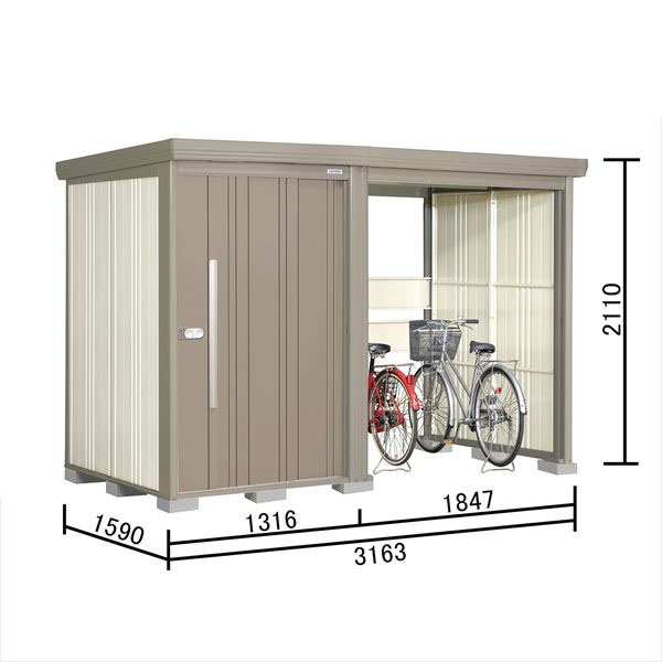 タクボ物置 TP/ストックマンプラスアルファ TP-S31R15 多雪型 標準屋根 『追加金額で工事も可能』 『駐輪スペース付 屋外用 物置 自転車収納 におすすめ』 カーボンブラウン