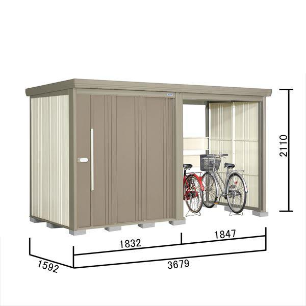 タクボ物置 TP/ストックマンプラスアルファ TP-37R15 一般型 標準屋根 『追加金額で工事も可能』 『駐輪スペース付 屋外用 物置 自転車収納 におすすめ』 カーボンブラウン