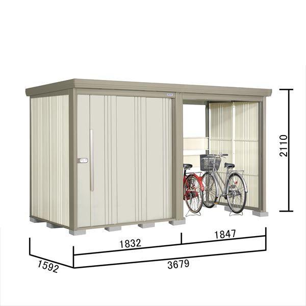 タクボ物置 TP/ストックマンプラスアルファ TP-S37R15 多雪型 標準屋根 『追加金額で工事も可能』 『駐輪スペース付 屋外用 物置 自転車収納 におすすめ』 ムーンホワイト
