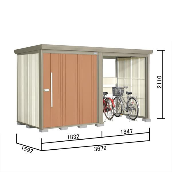 タクボ物置 TP/ストックマンプラスアルファ TP-SZ37R15 多雪型 結露減少屋根 『追加金額で工事も可能』 『駐輪スペース付 屋外用 物置 自転車収納 におすすめ』 トロピカルオレンジ