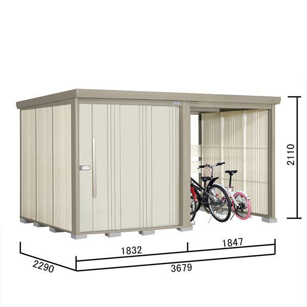 タクボ物置 TP/ストックマンプラスアルファ TP-37R22 一般型 標準屋根 『追加金額で工事も可能』 『駐輪スペース付 屋外用 物置 自転車収納 におすすめ』 ムーンホワイト