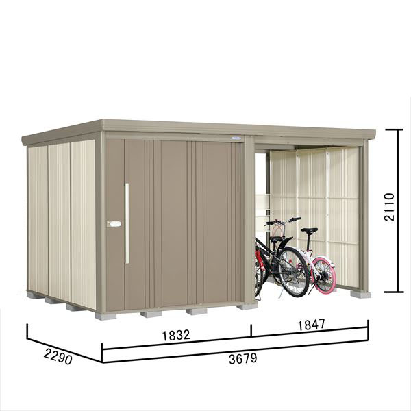 タクボ物置 TP/ストックマンプラスアルファ TP-37R22 一般型 標準屋根 『追加金額で工事も可能』 『駐輪スペース付 屋外用 物置 自転車収納 におすすめ』 カーボンブラウン