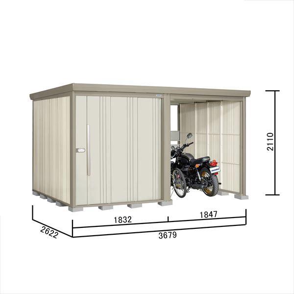 タクボ物置 TP/ストックマンプラスアルファ TP-S37R26 多雪型 標準屋根 『追加金額で工事も可能』 『駐輪スペース付 屋外用 物置 自転車収納 におすすめ』 ムーンホワイト