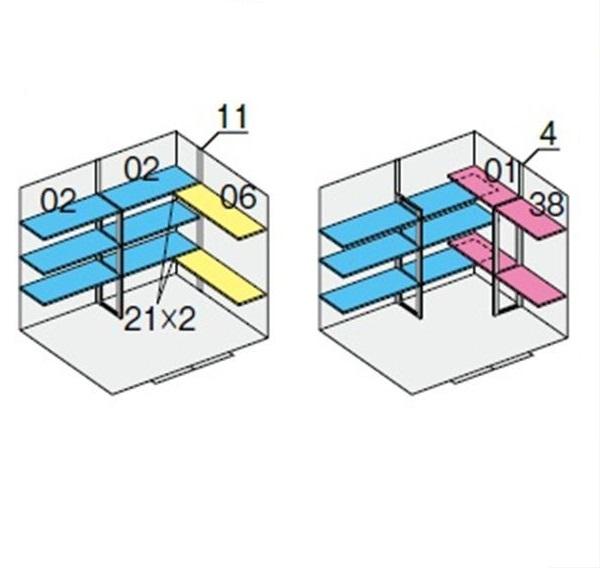 イナバ物置 NXN 奥行1790用 別売棚Cセット ハイルーフ用 *単品購入価格 引き分け戸用